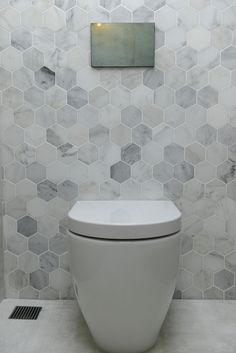 The Block Triple Threat: Wk 4 l Cellar Laundry Powder RoomThese tiles The Block Triple Threat: Week 4 Cellar, Laundry & Powder Room Reveals - STYLE CURATOR bathroomtilesDelight your site visitors with these 30 pretty Hexagon Tile Bathroom, Bathroom Feature Wall, Bathroom Styling, Toilet Room, Room Wall Tiles, Toilet Tiles, Powder Room Tile, Marble Bathroom, Triple Room