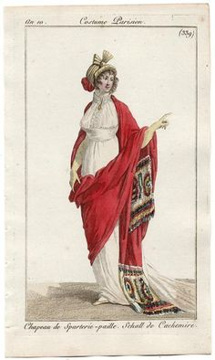 Journal des Dames et des Modes, 1801. This outfit is just…weird. And that bonnet would look good on that crazy British chick with the octopus hat at the Royal Wedding.