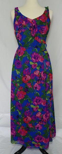 Isaac Mizrahi Live Maxi Dress Size Medium Chiffon Cobalt Brush Stroked Floral #IsaacMizrahiLive #CascadingRufflesMaxi #Cocktailparty