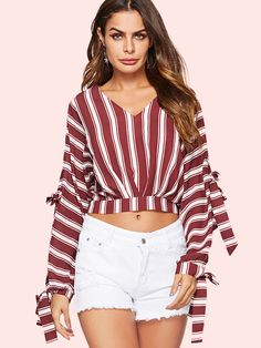 New Sexy V-Neck Striped Blouse Women Ruched Long Sleeve Blouse Shirt Cheap Summer Beach Tops Ladies Casual Streetwear 2019 Stripes Fashion, Nyc Fashion, Crop Blouse, Short Tops, Blouses For Women, Long Sleeve, Casual, Sleeves, Striped Blouses