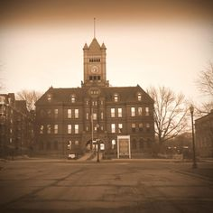 Slightly different photo of historic landmark in Wheaton, Illinois -- The Old DuPage County Courthouse -- photo by Katherine Johnson.