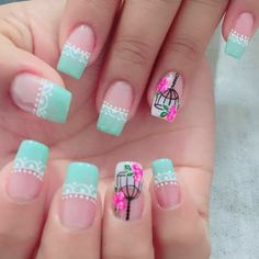 Uñas verde me nta. Diy Nails, Cute Nails, Pretty Nails, Fabulous Nails, Perfect Nails, Dimond Nails, Nails Only, Flower Nail Art, French Nails
