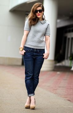 switch to some skinny jeans and grey flats and this top would look great!