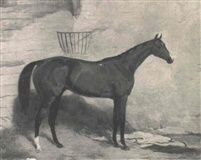 CORRANNA A BAY RACEHORSE IN A STABLE by Harry Hall