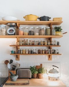 open kitchen shelving featured in 91 magazine. Home Decor Kitchen, Kitchen Interior, Home Kitchens, Rustic Kitchens, Sweet Home, Open Kitchen, Kitchen Storage, Kitchen Shelves, Kitchen Remodel