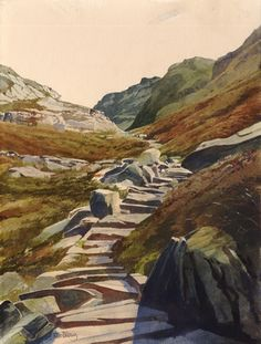 Bwlch Tyddiad, an original watercolour painting by Rob Piercy, Mountains,Paths and Tracks, Wales,Snowdonia, 27 cm x 35 cm