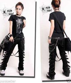 Punk Rave Rockabily Pants Fashion Mens Womens Gothic Streampunk EMO Trousers K95 Alternative Measures