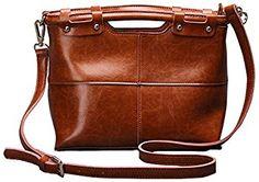 QZUnique Women's Cowhide Genuine Leather Vintage Style Small Top Handle Cross Body Shoulder Bag Brown: Amazon.co.uk: Shoes & Bags