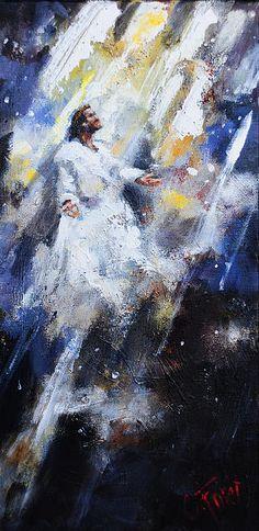Jesus Painting - Jesus Ascending by Carole Foret Jesus Our Savior, Jesus Art, Jesus Lives, Jesus Is Lord, Christian Paintings, Christian Art, Catholic Art, Religious Art, Croix Christ