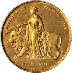 """Great Britain 5 Pounds Gold Coin 1839 Queen Victoria """"Una and the Lion"""""""