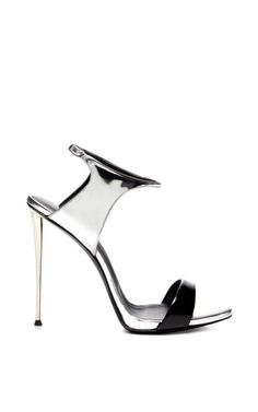 Black and Silver Sandal with Metal Heel by Giuseppe Zanotti Now Available on Moda Operandi