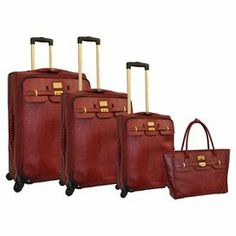 "Four piece luggage set with a push button locking telescoping handle system and gusseted front.  Product: Small, medium, large suitcase and travel toteConstruction Material: PolyurethaneColor: RedFeatures:  Push button locking telescopic handle systemEVA expandable designZippered gusseted front pocketHeavy duty signature zipper pullsTravel tote can hold laptopDimensions: Small: 21"" H x 14"" W x 9"" D  Medium: 25"" H x 16"" W x 10"" D  Large: 29"" x 18"" W x 11"" DTravel Tote: 15"" H x 18"" W x 5"" D"