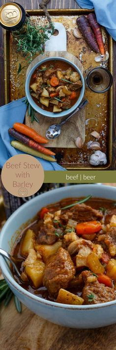 Beef Stew with Barley | http://thecookiewriter.com | @thecookiewriter | #stew | This hearty soup can easily be made gluten-free by omitting the barley! A little bit of work, but worth it during the cooler, holiday months.