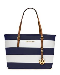 MICHAEL Michael Kors  Small Jet Set Striped Travel Tote. $258