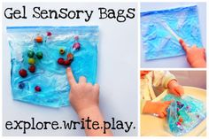 Totally Tots: Gel Sensory Bags ~ Simply Made. Had these at our parent fair and children loved them! Sensory Tubs, Sensory Boxes, Sensory Activities, Sensory Play, Preschool Activities, Elderly Activities, Toddler School, Tot School, School Week