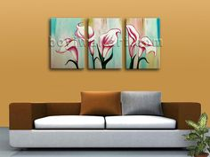 HD 3-panel Giclee high-resolution canvas print with Floral in Contemporary style. It is available in numerous sizes to fit any size room!
