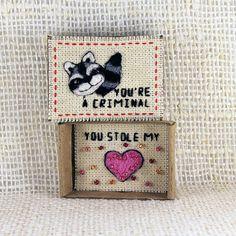 Greeting Card Matchbox Love Card Matchbox Raccoon Card