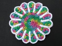 Cotton Flower Hotpad Doily Holiday Colors by NancysCrochet on Etsy, $10.50