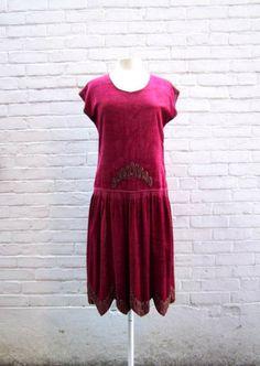 1920s Great Gatsby Raspberry Red Velvet Beaded Sheath Drop Waist Dress Medium.  via Etsy.