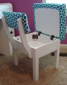 "Secret compartment chair: I have one as my Sewing Chair. I absolutely love it! - could take regular chair and add plywood ""bottom"" to it Furniture Makeover, Diy Furniture, Chair Makeover, Furniture Layout, Furniture Design, Storage Chair, Diy Casa, Built In Storage, Extra Storage"