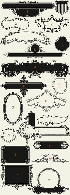 Letterhead Fonts / LHF Centennial Panels 1 / Decorative Panels NOT FREE
