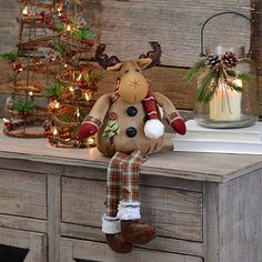Welcome the season this December in rustic style with our Burlap Plaid Reindeer Shelf Sitter. Fun accents make this a perfect Christmas counter-space addition. Indoor Christmas Decorations, Christmas Themes, Christmas Crafts, Christmas Ornaments, Holiday Decor, Christmas Sewing, Rustic Christmas, Christmas Projects, Merry Christmas