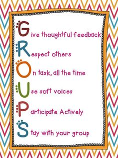 Concept thinking:This idea represents decision making for kids. It is an easy way to manage small groups with clear expectations. Students will be able to make their own decisions when in a group and ask questions to recieve positive feedback.