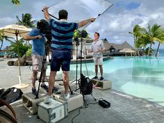 If you must shoot in Bora Bora, you might as well look great. This crew from Extra gets it just right. Looking good guys, casual yet neatly put together. News Anchor, Great Hairstyles, Bora Bora, New Media, A Good Man, Looks Great, Coaching, Men Casual, Guys