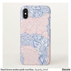 Hand drawn modern pink rose blue mandala floral iPhone x case Accessoires  De Téléphone, Coque 6658aa5497b7