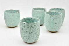 Mint green sttoneware cups