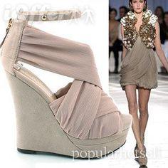 European-american new women's wedge heels sandals shoes