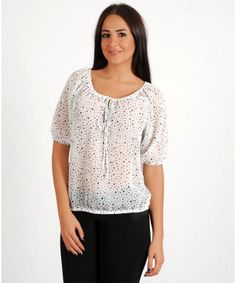Woman's Sheer Stylish Pattern White& Black Poke Dot Pattern Blouse - APPAREL  Find More: http://www.imaddictedtoyou.com/
