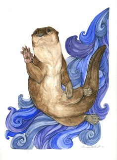 Otter, one of several commissions. Gouache paint and coloured pencil.