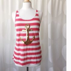 Trendy Anchor Tank Racer back. Machine washable. Super cute. Only have size medium. Fits true to size. April Spirit Tops Tank Tops