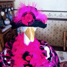 q t pie #hotpink #pink #feathers #featherboas #funny #cute #marvelous #cutiepie #happiness #joy #silly #giggles #smiles #enigma #oneofakind #gooseclothes #geese #goose #lol #laughter #gooseclothes #lawngeese #gettagoose #geese #magnificent