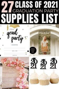 my mom and i are just starting to prepare for my grad party but really had no idea where to start. this list of graduation party supplies was super helpful and a great starting point for our planning! Vintage Graduation Party, Outdoor Graduation Parties, High School Graduation Gifts, Grad Parties, Grad Party Decorations, Graduation Party Centerpieces, Graduation Party Supplies, Graduation Ideas, Diy 2019