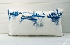 Nautical Lumbar Throw Pillow Bolster Cushion Cover Blue Cream French Coastal Boats Sailing