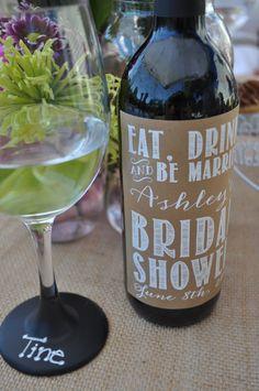 Rustic Bridal Shower Wine Labels- Custom Digital File ONLY on Etsy, $10.00