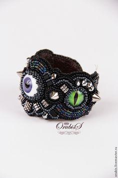 Купить НЕДРЕМЛЮЩЕЕ ОКО - чёрный, Глаза, украшения ручной работы, браслет, Браслет ручной работы
