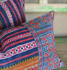 Custom Hmong Pillows - Use wide trim for on end.