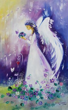 Pretty angel painting with purple background and pretty colorful flowers and butterflies.