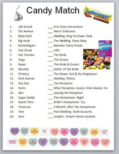 Candy Match bridal party game or bachelorette party game idea! Bridal Games, Wedding Games, Couples Wedding Shower Games, My Bridal Shower, Bridal Showers, Before Wedding, Our Wedding, Wedding Ideas, Wedding Stuff