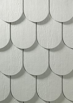 HardieShingle Half-Rounds on front entry porch, paint color: Benjamin Moore Harbor Haze Shingle Siding, House Siding, Facade House, Benjamin Moore Exterior, Porch Paint, Front Entry, Coastal Cottage, Exterior Colors, Traditional House