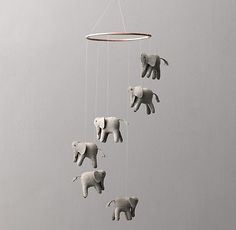 Gender Neutral Gray Elephant Mobile for Baby Nursery