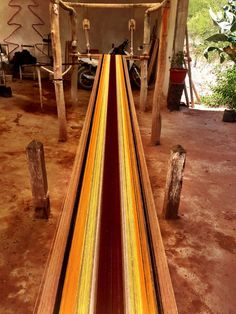 After the dye, the wool yarn must get dried before the weaving