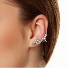 Crystal Cuff Earring with Crystal Stud Pretty Crystal Cuff Earring with Crystal Stud  🐚 Nickel & Lead free  **** photo credit T&J Designs T&J Designs Jewelry Earrings