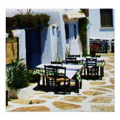 Mykonos, Greece, Greek islands, Cafe Poster from Zazzle.com