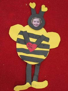 Valentine's Day craft - will you BEE mine? - yellow and black shapes, pink heart (Mrs. Morrow's Kindergarten)