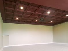 Merlot Madison Ceiling Tiles make a bold ceiling statement. House, Elegant, Tiles, Basement Ceiling, Home, Coffered Ceiling, Ceiling, Ceiling Tiles, Home Theater