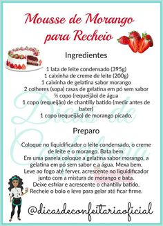 Recheio No Bake Desserts, Delicious Desserts, Easy Birthday Cake Recipes, Cake Fillings, Cake Boss, Cake Tutorial, Sweet Cakes, Party Cakes, Mousse